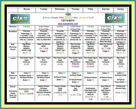 CIZE – Week 1 Workouts and Meal Plan