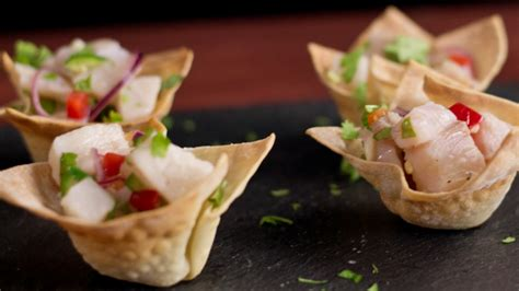 Ceviche Wonton Cups ~ Hungry AF   Tastemade