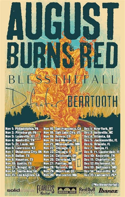 AUGUST BURNS RED Announce Fall Tour With BLESSTHEFALL